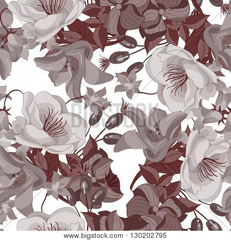 Vector seamless floral pattern with roses and bellflowers. Flower and leaf background.