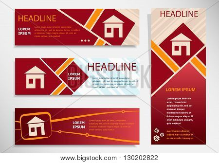 House Sign On Vector Website Headers, Business Success Concept