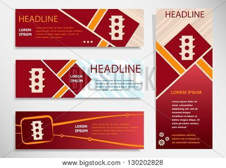 Stoplight  Icon On Vector Website Headers, Business Success Concept.