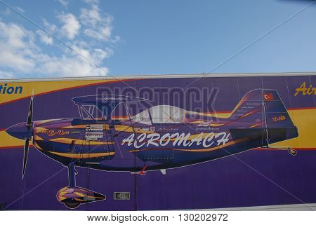 ANKARA/TURKEY-OCTOBER 11, 2008 : Airshow pilot Ali Ismet Ozturk's purple violet PITTS aircraft trailer at the Etimesgut Turkkusu Airport during the air fest of Turkish Air Association-THK. October 11, 2008-Ankara/Turkey
