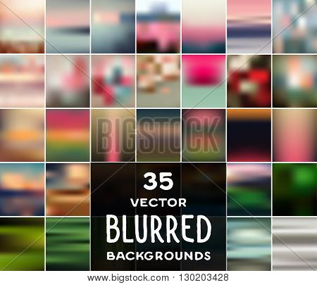 Collection of 35 vector blurred backgrounds. Can be used in photo albums website banners presentations business cards postcards leaflets flyers flash and web backgrounds textures wallpapers.