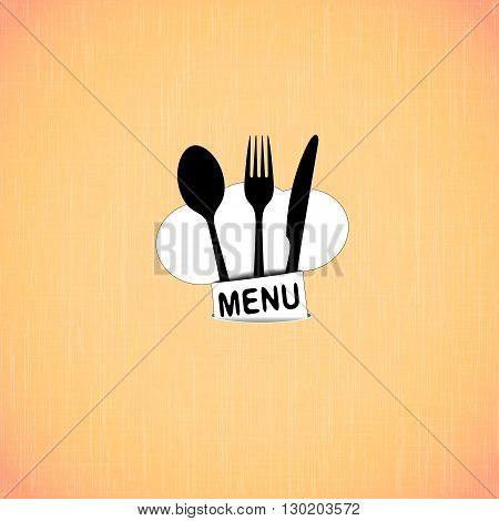 Vector illustration of a template for the cover of restaurant menu with plate and hat chef on the background of the texture of red fabric.