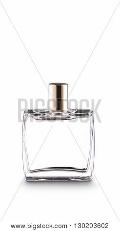 Squared bottle of perfume with golden cap on white. With clipping paths