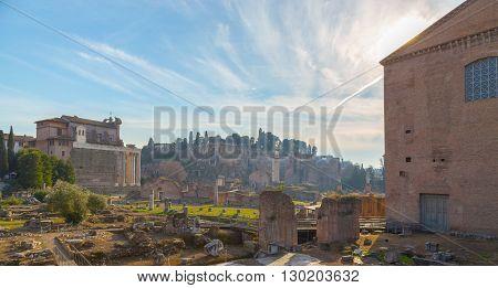 forum romanum in rome panorama blue sky
