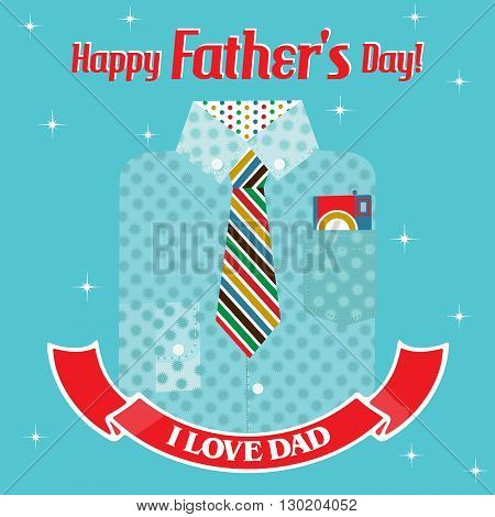 Designer blue shirt with a colorful tie and a red ribbon with the text Happy Fathers day