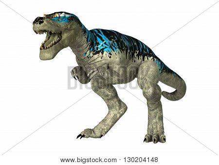 3D Rendering Tyrannosaurus Rex On White