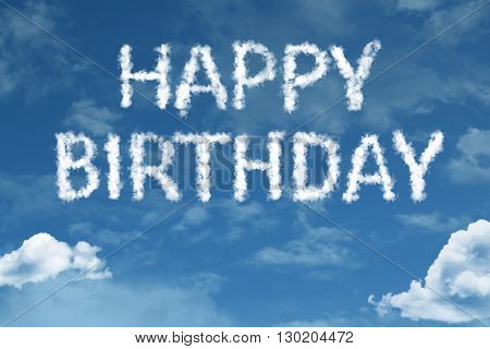 Happy Birthday cloud word with a blue sky