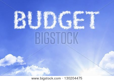 Budget cloud word with a blue sky