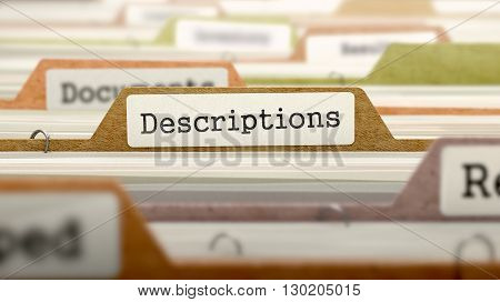 Descriptions Concept on File Label in Multicolor Card Index. Closeup View. Selective Focus. 3D Render.