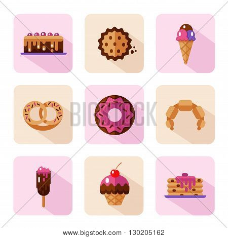 Vector flat style icons of sweets and candies products. Dessert icons set. Donut with glaze, cake, cookie, croissant, pretzel, pancakes, muffin, ice creams.