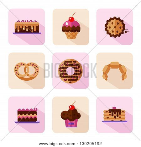 Vector flat style icons of sweets and candies products. Dessert icons set. Donut, cake, cookie, croissant and pretzel, pancakes, muffin.