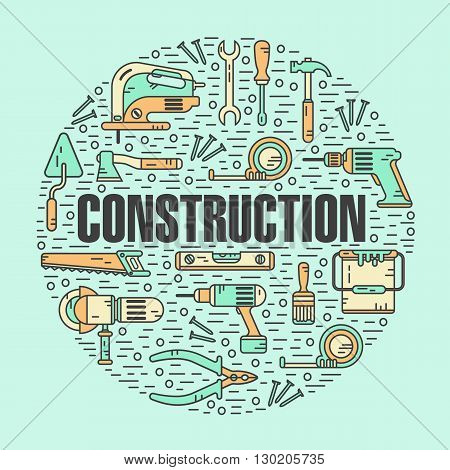 Vector color modern line style illustration of constructions tools. Pliers, drill, spatula, helmet, shovel, saw, screwdriver, wrench, paint roller, paint bucket, brush. Round shape icons concept.