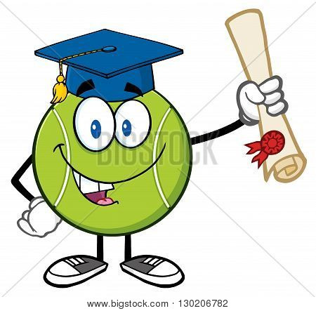 Happy Tennis Ball Cartoon Mascot Character With Graduate Cap Holding A Diploma