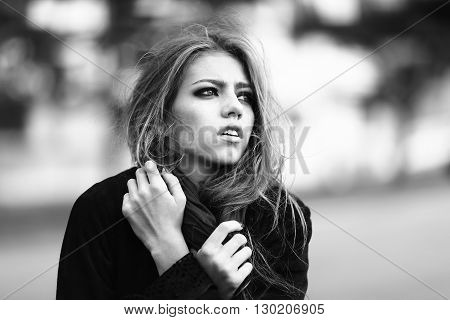 Fashionable Woman Outdoor Closeup
