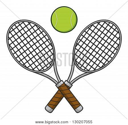 Crossed Racket And Tennis Ball. Illustration Isolated On White