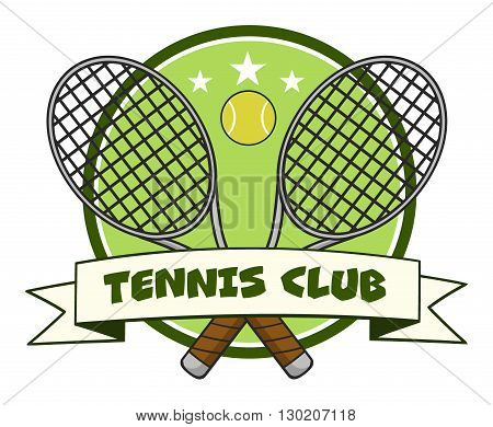 Crossed Racket And Tennis Ball Logo Design Label. Illustration Isolated On White And Text Tennis Club