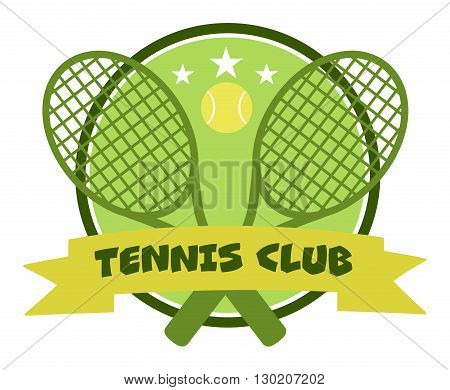 Crossed Racket And Tennis Ball Logo Design Green Label. Illustration Isolated On White And Text Tennis Club