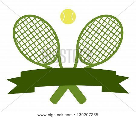 Crossed Racket And Tennis Ball Logo Design Green Label
