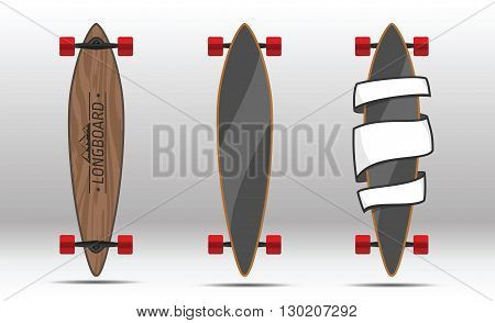 Vector illustration of longboards. Illustration of flat longboards isolated on white background. Flat colorful longboards.