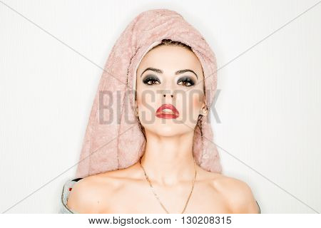 Pretty Woman With Towel On Head