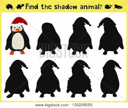 Children's developing game to find an appropriate shadow animal of the penguin. Vector illustration