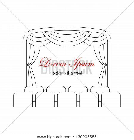 Theater stage with curtain and seats vector line illustration. Theater or cinema logo template. Entertainment icon.