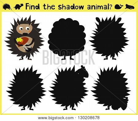 Children's developing game to find the appropriate shade of the forest hedgehog. Vector illustration