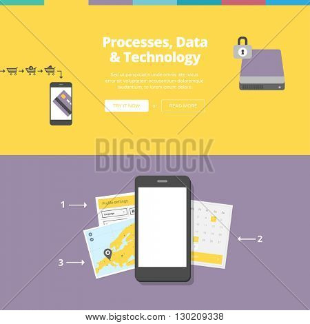 Data, Processes & Technology. Website banners collection with flat design illustrations.