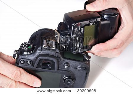Photographer Set External Flash On Digital Slr Camera