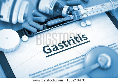 Gastritis - Medical Report with Composition of Medicaments - Pills, Injections and Syringe. Gastritis - Printed Diagnosis with Blurred Text. 3D Render.