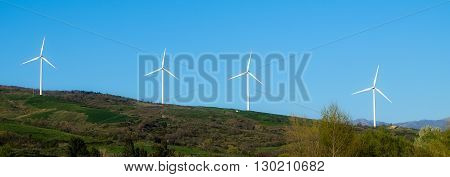 Ecological electricity generation: windfarm near Salerno Italy