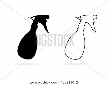 Spray bottle sketch. Hand-drawn cartoon cleaning tool icon - pulverizer. Doodle drawing. Vector illustration.