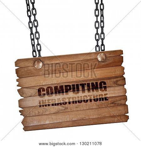 computing infrastructure, 3D rendering, wooden board on a grunge