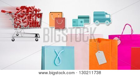 Digital shopping diagram on a white background against composite image of online shopping concept
