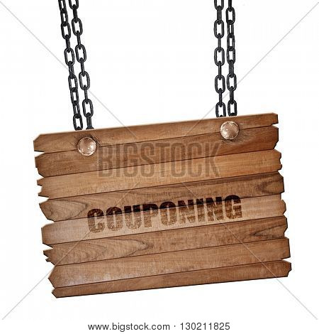 couponing, 3D rendering, wooden board on a grunge chain