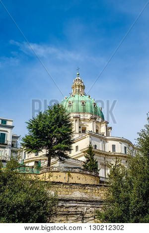 The Buon Consiglio green dome in Naples. Imitation of St. Peter in Vatican City