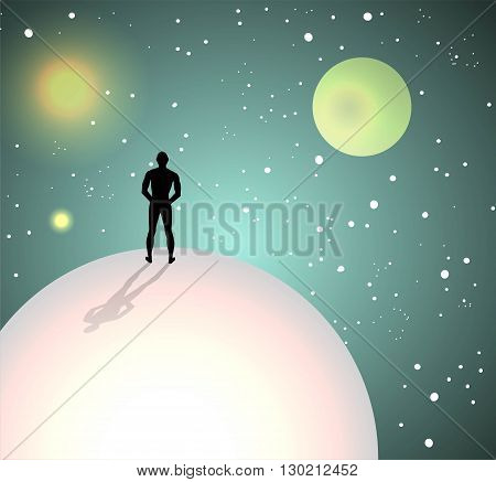 imaginary planets in the universe with humanoid figures