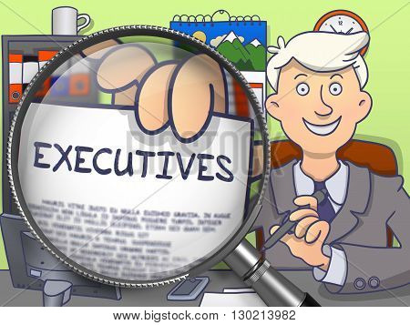 Business Man Showing Text on Paper Executives. Closeup View through Magnifier. Multicolor Doodle Illustration.