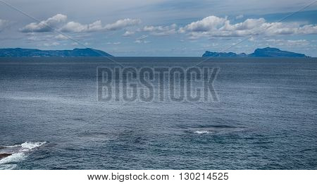 the sea between the Sorrento peninsula and the island of Capri seen from Naples. Italy