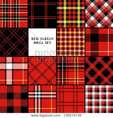 Scottish traditional tartan fabric seamless pattern set in red and black and white, vector background