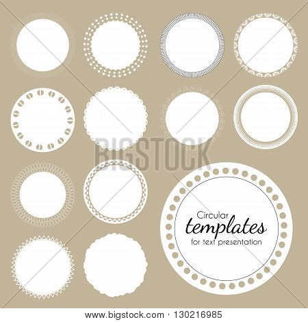 Set of round white templates for text. Vector illustration. Isolated frames for advantage or presentation. White circles with openwork pattern on edge.