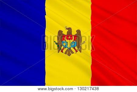The regional flag of the Moldovia (or Moldavia) - a former principality of southeast Europe. In 1861 Moldavia united with Wallachia to form Romania.
