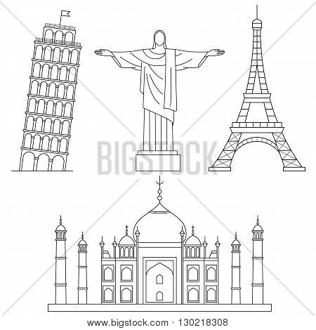 World Landmarks, Eiffel Tower, Leaning Tower of Pisa, Christ the Redeemer, Taj Muhal . Vector line icons set.