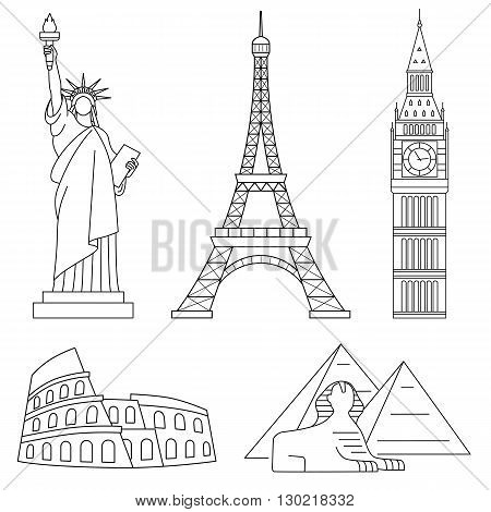 World Landmarks, Eiffel Tower, Big Ben, Colosseum, Sphinx. Vector line icons set.