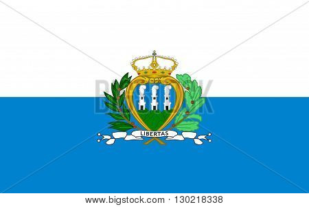 Flag of San Marino officially the Republic of San Marino also known as the Most Serene Republic of San Marino