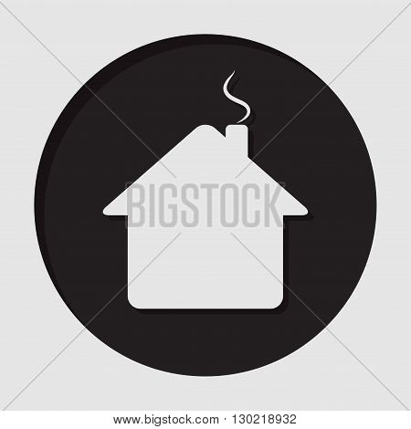 information icon - dark circle with white home with chimney and shadow