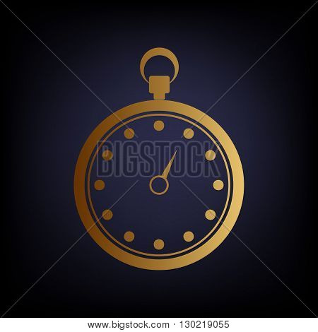 Stopwatch sign. Golden style icon on dark blue background.