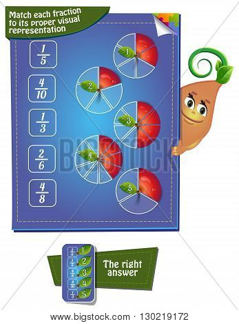 Visual Game for children. Task: Match each fraction to its proper visual representation