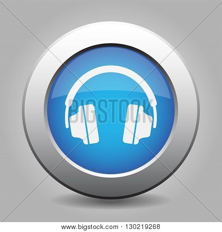 blue metal button - with white headphones icon