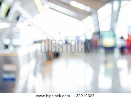 Blur Background : Terminal Departure Check-in At Airport With Bokeh